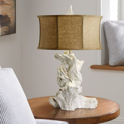 Costal Living White Driftwood Table Lamp with Raw Cotton Drum Shade