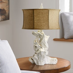Costal Living White Driftwood Table Lamp with Raw Cotton Drum Shade - This chic chunky white driftwood table lamp adds natural abstract form and texture to living room, or bedroom decor. Molded plaster takes the form of driftwood in this distinctive table lamp. Twisted, organic forms have a white finish with matching, textured finial on top. Empire shade of raw cotton diffuses warm light outward. This piece can work in casual, coastal settings or with more formal decor.