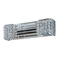 Maxim Lighting International - Manhattan Polished Chrome Two-Light Bath Vanity - - Contrasting array of beveled crystal create an elegant contemporary style that integrates seamlessly into today's interior design. The polished chrome frame provides a touch of shimmer without competing with the brilliance of the crystal.  - Beveled crystal glass  - Bulb included Maxim Lighting International - 39787BCPC