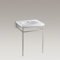 KOHLER - KOHLER Persuade(R) console table - A sleek take on the traditional pedestal sink, the Persuade console table's contemporary design complements a wide range of bathroom decors. Steel-tube construction ensures durability, and three integral rails provide convenient towel storage. Finished wi