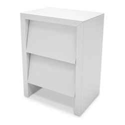 Zuri Furniture - Weiss Shaker Style White Lacquer Night Stand - The Weiss modern night stand boasts a new slant on the traditional clapboard style. The minimalistic design features two compact drawers with beveled clear glass plates over the white base color, perfect for a small space without sacrificing style.