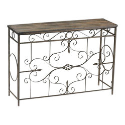 Cyan - Schafer Iron Console - This invitingly warm console features a dark wood plank to host your decorative objects and everyday accessories. The lovely exposed nature of the framework design keeps the space feeling open and airy.