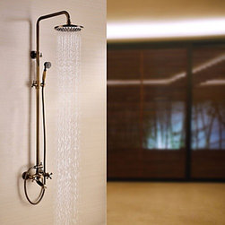 Shower Faucets - Antique Brass Tub Shower Faucet with 8 inch Shower Head + Hand Shower--FaucetSuperDeal.com