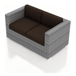 Harmonia Living - Urbana Modern Outdoor Loveseat, Weathered Stone Wicker, Coffee Cushions - The Harmonia Living Urbana Rattan Patio Loveseat with Brown Sunbrella cushions (SKU HL-URBNWS-LS-CO) features clean lines, premium synthetic wicker and brushed aluminum feet, giving your outdoors a fantastic modern look. The High-Density Polyethylene (HDPE) wicker is infused with a Weathered Stone and UV treatment, creating long-lasting color that is fade-resistant and cannot be stripped off. Underneath the wicker is a sturdy, thick-gauged aluminum frame that is powder coated, making it incredibly corrosion resistant. The outdoor wicker seats are reinforced to prevent excessive wicker stretching, ensuring you and your guests can sit securely each time. The sofa includes seat and back cushions covered in fade- and mildew-resistant Sunbrella fabric, which is available in Spectrum Coffee.