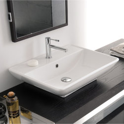Scarabeo - Rectangular White Ceramic Wall Mounted or Vessel Sink - Contemporary design rectangular white ceramic sink with overflow. Sleek wall mounted or above counter bathroom wash basin. Available with no hole, one hole, or three hole. Made in Italy by Scarabeo. Rectangular ceramic sink. Wall mounted or above counter with overflow. No hole, one hole, or three hole available. From the Scarabeo Kylis Collection. ADA compliant. Standard drain size of 1.25 inches. Because the sink has multiple installations, the back side is not glazed.