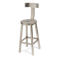 "30"" Seat Height Steel Finish Barstool - This chair designed from the European country collection is sure to provide the users support and easy comfort. It features a round steel seat and a comfortable T-shaped backrest for adequate support and foot-rest at the base. It is elite; and defines high class antiquity of creative artwork."