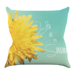 "Kess InHouse - Beth Engel ""You Are My Sunshine"" Teal Flower Throw Pillow (16"" x 16"") - Rest among the art you love. Transform your hang out room into a hip gallery, that's also comfortable. With this pillow you can create an environment that reflects your unique style. It's amazing what a throw pillow can do to complete a room. (Kess InHouse is not responsible for pillow fighting that may occur as the result of creative stimulation)."