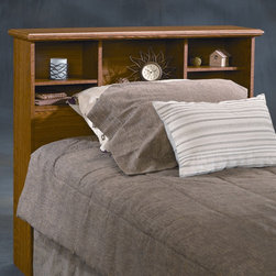 "Sauder - Orchard Hills Bookcase Headboard - American country style that provides endless versatility in the Orchard Hills collection. Solid cases are softened by finely detailed moldings while warm finish makes this piece the perfect accompaniment to the existing decor of any home. Features: -Spacious display area for storage.-Two adjustable shelves.-Enclosed back panel has cord access.-Made in the USA.-Carolina oak finish.-Orchard Hills collection.-Gloss Finish: No.-Frame Material: MDF.-Solid Wood Construction: No.-Upholstered: No.-Non Toxic: Yes.-Scratch Resistant: No.-Adjustable Height: No.-Nailhead Trim: No.-Lighting Included: No.-Wall Mounted: Yes.-Reversible: No.-Media Outlet Hole: Yes.-Built In Outlets: No.-Finished Back: No.-Distressed: No.-Frame Required: Yes.-Frame Included: No.-Drill Holes for Frame: Yes.-Frame Compatibility (Size: Twin): Twin.-Frame Compatibility (Size: Full/Queen): Full/Queen.-Swatch Available: Yes.-Eco-Friendly: Yes.-Product Care: Wipe with damp cloth.-Commercial Use: No.-Recycled Content: Yes -Remanufactured/Refurbished : No..Specifications: -EPP Compliant: Yes.-CPSIA or CPSC Compliant: Yes.-CARB Compliant: Yes.-JPMA Certified: No.-General Conformity Certificate: Yes.Dimensions: -Overall Height - Top to Bottom: 40.625"".-Overall Width - Side to Side (Size: Full/Queen): 62.75"".-Overall Width - Side to Side (Size: Twin): 42.625"".-Overall Depth - Front to Back (Size: Full/Queen, Twin): 10.875"".-Overall Product Weight (Size: Twin): 46 lbs.-Overall Product Weight (Size: Full/Queen): 62 lbs.-Shelf Height: 10.875"".-Shelf Width - Side to Side (Size: Twin): 11.5"".-Shelf Width - Side to Side (Size: Full/Queen): 14.5"".Assembly: -Assembly Required: Yes.-Tools Needed: Phillips head and hammer.-Additional Parts Required: No .Warranty: -Manufacturer provides 5 years warranty."