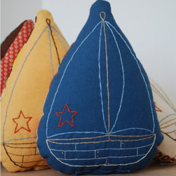 Kate Durkin Sailboat Pillow - For an unusual nautical spin in your little sailor's bedroom, consider these sailboat pillows. An eclectic spin on a classic sailboat design, these fun pillows are a great finishing touch to a child's bed.