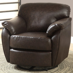 "Monarch - Dark Brown Leather-Look Swivel Accent Chair - Whether standing alone or used to accent a full living room ensemble, this chair will bring optimal comfort and exceptional style to your home. Designed with an overstuffed padded back, seat and arms that creates for a unique lounge chair shape, this accent chair has a sleek yet gentle contemporary style that will stand out in any room. Raised on polished chrome plated swivel base and draped in a dark brown leather-look upholstery, this chair's chic modern vibe is only further emphasized. Gentle to the eye and to the touch, this chair is stuffed with a generous amount of foam for soft support you will be just dying to sink into.; Material: PU, Wood, Foam; Dimensions: 33.5""L x 34""W x 32""H; Seat depth: 20""; Seat height from floor: 19.5"""
