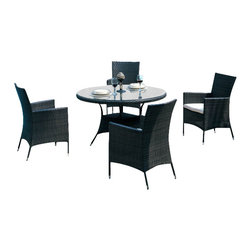 ELB Outdoor - ELB Outdoor Live Oak Poolside Dining Set - There's nothing more revitalizing than the freshness and unique sophistication of a tropical ambiance in your home and on your patio. The easiest way to achieve a voyage into the tropics is by relaxing in your stylish new ELB Outdoor Live Oak 5-Piece Poolside Dining Set.
