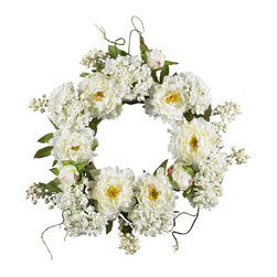 """20"""" Peony Hydrangea Wreath - Surprise that special someone (or just treat yourself) with this sunny wreath of springtime beauty. A full 20""""in diameter, this gorgeous wreath is a delicate mix of soft blooms both large and small, with a backdrop of twisty green vines and leaves that provide a wonderful contrast. This is a beautiful array of colors and textures that will instantly brighten any wall (or, use it as a centerpiece on a springtime table!) Height= 20 in x Width= 20 in x Depth= 20 in"""