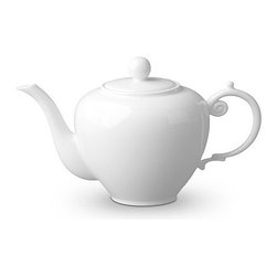 "L'Objet - L'Objet Aegean White Teapot - Inspired by the Greco-Roman treasures of the ancient world, named for the sea stretching between Greece and Turkey, a classic motif, reimagined for contemporary tables. Limoges Porcelain. Made in Portugal. Dishwasher & Microwave Safe. Diameter 10.5 x 5.5"" 45 oz.L'Objet is best known for using ancient design techniques to create timeless, yet decidedly modern serveware, dishes, home decor and gifts."