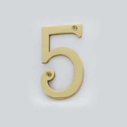Cool House Numbers Solid Brass 4 Inch (100mm) Door Number 5 #2275 - SOLID BRASS 4 INCH (100MM) DOOR NUMBER 5 #2275