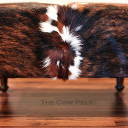 Cowhide Ottoman - Exotic Brindle Hide - Handcrafted