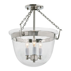 JVI Designs - Small Polished Nickel Three-Light Bell Semi-Flush with Clear Glass - -Carrying the vision of rich opulence, the Bell Jar has evolved through times remaining a focal point of richness and affluence. From visions of old time class to modern day elegance, the bell jar remains a favorite in several settings of the home. Using mouth blown glass of different arrays and designs...the possibilities are endless to find a piece that matches your desired personality and vision.  -Materials: Brass and Steel  -Shade(s): Clear Glass JVI Designs - 1153-15