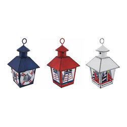 Zeckos - Set of 3 Red/White/Blue Nautical Mini Metal Tealight Lanterns - This set of 3 miniature metal tea light lanterns can be displayed either hanging or sitting on a tabletop, making it a great decor accent or part of a party centerpiece. Each lantern is approximately 7 inches tall (not including the hanger), and measures 4 inches by 4 inches around the top. They are painted with enamel, have a distressed finish, and are hand painted. The tea light holder is removable from the bottom and can accommodate up to 1 1/2 inch tea light candles. Use battery operated LED tea lights for worry-free accent lighting that lasts all night. This set of lanterns is a great accent in rooms, on porches, or at bars with beach or nautical themes.