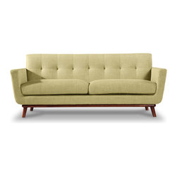 "Kardiel - Kardiel Jackie Mid-Century Modern Classic Loveseat, Lemon Grass Vintage Twill - Whether your Mid Mod design approach is the 60's themed ""Mad Men"" or the classic ""I love Lucy"", Jackie's profile will take you there. Perhaps you are in search of the mid-century icon that is large enough for real life. Jackie is designed to effortlessly perform mixed roles, whether you are curling up your legs for some comfortable reading time or formally hosting in black. An expansive profile is achieved by using 2 wider plump overstuffed smooth surface seat cushions without button tufting. A continuous horizontal bottom seat rail curves at each end rolling upward and outward into vertical flaring arms framing the Loveseat with continuity. A fixed cushioned low profile single piece back features one row of period correct blind tufting. Perhaps the base of Jackie is the most telling detail of the design. Whether placed in the center of the room or with its back to the wall, the solid gently curved varnished wood undercarriage adds the element of handcrafted artisan design. The wooden mid century modern flair leg is the perfect option for suspending Jackie's frame from the floor. The degree of leg flair angle was carefully measured staying authentic to this original 1950's design feature. The timeless splayed leg design with the correct degree of outward angle splay pulls all of Jackie's modernism features together capturing the true feeling of the period."