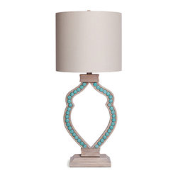 Kathy Kuo Home - Taboga Coastal Beach Limed Wood Turquoise Cabochon Table Lamp - With its feminine form, this gorgeous lamp hits the spot. Smooth magnesite cabochons are inlaid to show off its shapely silhouette. Place on your nightstand, end table, console or wherever else you need to shed a little light.