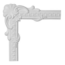 "Ekena Millwork - 19 7/8""W x 19 7/8""H Caputo Egg & Dart Panel Moulding Corner - 19 7/8""W x 19 7/8""H Caputo Egg & Dart Panel Moulding Corner. Our beautiful panel moulding and corners add a decorative, historic, feel to walls, ceilings, and furniture pieces. They are made from a high density urethane which gives each piece the unique details that mimic that of traditional plaster and wood designs, but at a fraction of the weight. This means a simple and easy installation for you. The best part is you can make your own shapes and sizes by simply cutting the moulding piece down to size, and then butting them up to the decorative corners. These are also commonly used for an inexpensive wainscot look."