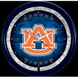 Authentic Street Signs - Auburn University NCAA 12-inch Plasma Neon Clock - Check out this great plasma neon clock. It features a vibrant plasma tube that illuminates a room with its electrifying lightning effects. It's perfect for your Man Cave, Game Room, Office or anywhere you want to show love for your favorite team. The plasma tube is powered by a UL listed 12-volt AC adapter. Measures 12 inches diameter.