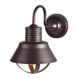 Murray Feiss Derek Outdoor Wall Lantern - 8.56W in. Oil Rubbed Bronze - With an industrial style and oil-rubbed bronze finish, the Murray Feiss Derek Outdoor Wall Lantern - 8.56W in. Oil Rubbed Bronze makes a unique accent for your doorstep or patio area. This durable metal wall lantern is ETL listed for wet locations, and uses one 100-watt bulb (not included).About Murray Feiss LightingThree generations have built Murray Feiss as a renowned name in lighting, and it now stands as a leader with a reputation for impeccable craftsmanship, innovative design, and honest value. Murray Feiss prides itself as the foremost designer and manufacturer of interior and exterior lighting and home decor in the lighting industry. Over 3,800 skilled artists and technicians bring Murray Feiss designs to life, meticulously finishing and quality testing each exclusive product. Murray Feiss Lighting has expanded its extensive, copyrighted line of products to include grand chandeliers, casual fixtures, vanity bath lights with coordinated bath hardware, outdoor lighting, lamps, torchieres, wall brackets, mirrors and decorative accessories. Whether outdoor or in, lighting from Murray Feiss means high quality and innovation. About Murray FeissMurray Feiss prides itself as the foremost designer and manufacturer of interior and exterior lighting and home decor in the industry. Founded three generations ago, Murray Feiss features an award-winning in-house design team that includes industrial, graphic, and interior designers, all working in conjunction with engineers, draftsmen, color forecasters, and quality control experts to bring you only the finest in home lighting solutions. At the Murray Feiss factories, over 3,800 skilled artisans go to work bringing the creations to life, meticulously hand-finishing and quality-testing each fixture to ensure you receive a top quality product. With pride in their past and a commitment to the future, Murray Feiss offers more than just expertise: they offer a promise of great value and affordability. Bring home beautiful lighting you can believe in with a Murray Feiss fixture.