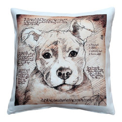 Pillow Decor - Leonardo's Dogs Pit Bull  Dog Pillow - Created in the style of a Leonardo da Vinci sketch, this image of a Pit Bull is applied to a wonderfully soft and natural feeling indoor/outdoor poly-linen fabric. The Pit Bull Dog Pillow makes a great gift for anyone who owns and loves this breed. Or incorporate this pillow into your own home to celebrate the unconditional affection that your dog shares with you. A Leonardo's Dogs original.