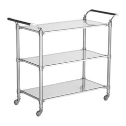 Beckett Bar Cart, Polished Nickel - This 1930s industrial trolley from Williams-Sonoma is an investment piece sure to stand the test of time. The classic design, stainless steel frame and glass shelves make the building blocks of any great home bar cart.