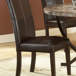 Hillsdale - Monaco Side Parson Chair - Set of 2 - For residential use. Matte espresso color. Hillsdale Furniture's Monaco dining collection offers luxury and elegance at a price you can afford. A dynamic faux marble top sits atop a dramatic and strong metal globed base, and our sumptuous parson's chairs subtly compliment the rich colors in the table top. Comfortable and understated, the upholstered parson's chairs are covered in a rich brown leather with attractive stitched accents. A fantastic addition to any kitchen or dining room, the Monaco dining is constructed of wood composites, marble veneers, solid wood, and leather. Some assembly required. 20.25 in. W x 18.25 in. D x 38 in. H