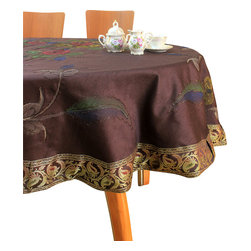 """Banarsi Designs - Hand Painted Floral Round Tablecloth (Coffee Brown, 70"""" Round) - Transform your table into a display of art with the Hand Painted Floral Round Tablecloth from our exclusive collection, available in two sizes: 70-Inch Round and 90-Inch Round. This tablecloth has been expertly crafted in India using distinct and creative hand painted techniques. Hand-painted strokes are naturally illustrated throughout the tablecloth using careful precision, embellished with the Banarasi Saree border, adding radiance and beauty to the overall design. Our round tablecloths are perfect for decorating your tables for a special occasion or event. Note: Since this product is hand painted, the design may slightly vary from the picture. Banarsi Designs Exclusive"""