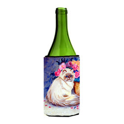Caroline's Treasures - Persian Cat Wine Bottle Koozie Hugger - Persian Cat Wine Bottle Koozie Hugger Fits 750 ml. wine or other beverage bottles. Fits 24 oz. cans or pint bottles. Great collapsible koozie for large cans of beer, Energy Drinks or large Iced Tea beverages. Great to keep track of your beverage and add a bit of flair to a gathering. Wash the hugger in your washing machine. Design will not come off.
