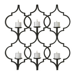 "Grace Feyock - Grace Feyock Zakaria Metal Candle Holder Wall Sconce X-89931 - Hand forged metal finished in aged black with taupe gray accents. Distressed, 3"" beige candles included."
