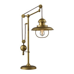 ELK Lighting - ELK Lighting 65100-1 Farmhouse 1-Light Table Lamps in Antique Brass - Inspired by antique lighting, this series recalls turn-of the century design where simple aesthetics and mechanical function combined to create charming, yet versatile fixtures. These classic pull-downs have a decorative weight that counterbalances the fixture for easy height adjustability anytime by simply pulling down or lifting up on the fixture.