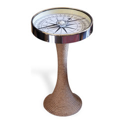 Accent Side End Table with Compass