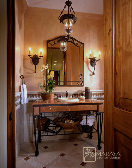 Mediterranean Powder Room by Maraya Interior Design