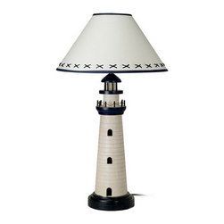"Lighthouse Lamp - The lighthouse lamp measures 29""H x 8""Dia. It features a decorative  lighthouse made of wood attached to a sturdy base. The lamp is blue and  off white to beige in color. The shade is blue and white in color. The  lamp can take up to a 100 watt bulb but we recommend a 60 watt bulb just  to be safe. It will add a definite nautical touch to wherever it is placed  and is a must have for those who appreciate high quality nautical decor.  It makes a great gift, impressive decoration and will be admired by all  those who love the sea."