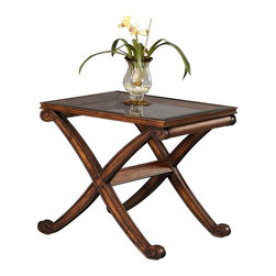 Bassett Mirror - Glass Top Rectangular End Table w X-Shaped Le - Wellington Collection. Traditional style. Made of Asian hardwood. Dark Fruitwood finish. 28 in. W x 24 in. D x 25 in. H (27 lbs.)