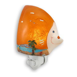Zeckos - Tropical Fish Beach Themed LED Night Light - This super cool orange tropical fish night light features a hand painted beach scene on the front. Measuring 5 1/2 inches tall, 4 1/4 inches wide and 2 1/2 inches deep, the light shines through the body of the fish, showing off the detail of the beach scene. The night light can be used in any North American power outlet. It uses a 4 LED night light bulb (included).
