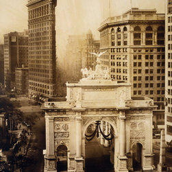 Victory Arch and Flatiron Building Print - Victory Arch and Flatiron Building. Photographed by Iriving Underhill in 1919. Summary: Bird's-eye view of Victory Arch and Flatiron Bldg., New York City.