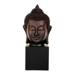 Oriental Unlimited - 10 in. Tall Thai Buddha Head Statue - A small, delightful and simple block mounted Buddha head statue. With the pointed top knot and facial features of ancient South East Asian Buddha bronzes, carvings and sculptures. Unique and distinctive gifts for him or her. Fine Buddha head statue attached to block pedestal (as shown). Excellent quality detailed casting in South East Asian design. Crafted from fine quality heavy black resin. Beautifully finished with a faux bronze antique patina. 4.5 in. W x 4.5 in. D x 10 in. HNot quite a foot tall, this is a great size for a desk, a lamp table or a fireplace mantle. In the living room, dining room, bedroom or office, a Buddha statue can provide a lovely Far Eastern decorative accent. Comes attached to the block pedestal as shown, a lovely and interesting gift idea.