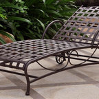 International Caravan - Single Patio Chaise Lounge - National best seller. All weather resistant coating. Four multi positions for various comfort zones. Double powder-coated matte finish. Equipped with wheels for easy transportation. UV light fading protection. Made from pure premium wrought iron. Bronze color. Assembly required. 23 in. W x 27 in. D x 24.5 in. H (36 lbs.)