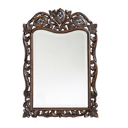 Howard Elliott - Howard Elliott 4085 St. Agustine Antique French Brown Mirror - Antique French Brown Mirror belongs to St. Agustine Collection by Howard Elliott This rectangular mirror features a frame Ornate,Traditionally carved with a lovely open scroll design and focuses on 3 flowers at the top of the piece. It is finished with an antique French brown and highlighted with gold accents. Mirror (1)