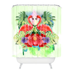 DENY Designs - Kangarui Exotic Flamingo Shower Curtain - Who says bathrooms can't be fun? To get the most bang for your buck, start with an artistic, inventive shower curtain. We've got endless options that will really make your bathroom pop. Heck, your guests may start spending a little extra time in there because of it!