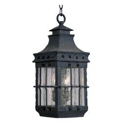 Joshua Marshal - Three Light Country Forge Seedy Glass Hanging Lantern - Three Light Country Forge Seedy Glass Hanging Lantern