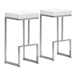 """Zuo - Set of 2 Zuo Modern Darwen 30"""" High White Bar Stools - Add some modern drama to your contemporary home with this vibrant set of 2 white bar stools. Perfect for parties these quirky stools are constructed from 100% stainless steel with a white plush leatherette seat. By Zuo Modern. Set of 2. 100% stainless steel. White plush leatherette seat. Armless design. 30"""" high. 14"""" wide. 14"""" deep.  Set of 2.  100% stainless steel.  White plush leatherette seat.  Armless design.   30"""" high.  14"""" wide.   14"""" deep.  Some assembly required."""