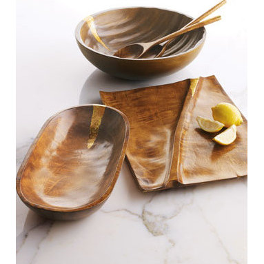 Diane von Furstenberg Wooden Serveware - Diane von Furstenberg can do no wrong in closets or in pantries. This wood and gold-flocked set is taking rustic pieces to a new luxe level.