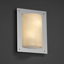 Justice Design Group - Fusion Framed Rectangle Four-SidedTwo-Light Fluorescent Polished Chrome ADA Wall - - (2) 13W lamps included. ADA.  - Shade Detail - Weave  - Shade Material - Artisan Glass Justice Design Group - FSN5563WEVECROM