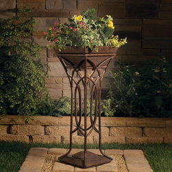 Kichler Lighting - Kichler Lighting - 15415TZT - Cathedral - One Light Standing Planter - CATHEDRAL LIGHT RAISED PLANTER - A tall planter that will allow draped foliage to interplay with the light emitting from within the arched interwoven bands.