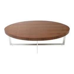 Euro Style - Olina Modern Coffee Table - Wooden top. Chromed steel base. 47 in. W x 24 in. D x 16 in. H (48 lbs.)Grand ideas for small spaces, the smooth and clean geometric shapes give your rooms a trendy, up-to-date look. The furniture design make your rooms stylish and sophisticated, symbolizing your self confidence.