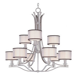 Maxim - Maxim Orion Nine Light Satin Nickel Satin White Glass Drum Shade Chandelier - This Nine Light Drum Shade Chandelier is part of the Orion Collection and has a Satin Nickel Finish and Satin White Glass. It is Dry Rated.